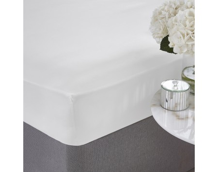 PURE COTTON FITTED SHEET WHITE DOUBLE